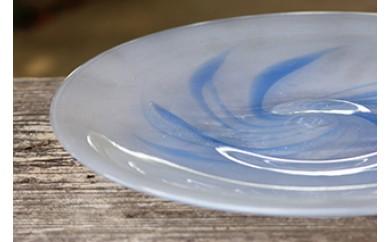 琉球ガラス 渦巻柄8寸ガラス皿