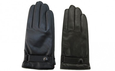 [№4631-7210]0953羊革 手袋 メンズ 黒 23cm(ベルト付)
