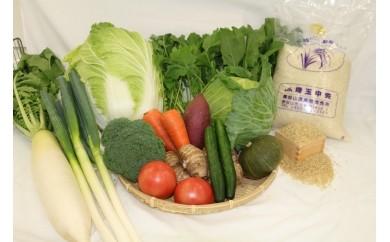 F1 東松山市産のおいしいお米と季節の野菜と市内産加工品詰合せセット3回お届け