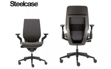 [№5809-0881]スチールケース ジェスチャー オフィスチェア 椅子 シェルバックスタイル ブラックフレーム ファブリック シートカラー:リコリス(ブラック)