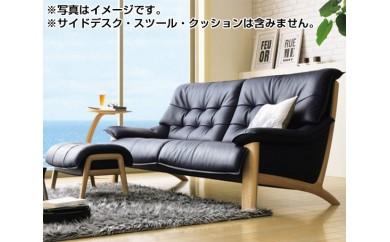 No.082 [カリモク家具]本革張りソファ B