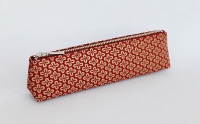 B-1216.甲州市×印傳屋 ペンケースA(赤革×白漆)