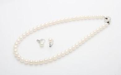 HS05 あこや真珠ネックレス(7.5mm)イヤリング(またはピアス)セット  【450pt】
