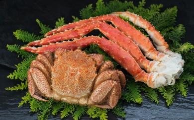 [Ka405-C025]【蟹のゴールデンコンビ!】ボイル毛ガニ500g×1尾&タラバカニ脚600g