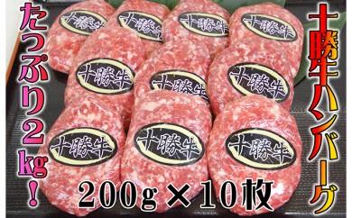 [№5749-0136]北海道十勝牛手ごねハンバーグ200g×10個
