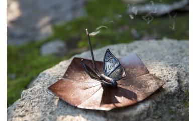 [D508]鋳銅皿&蝋型鋳金 蝶香立 セット