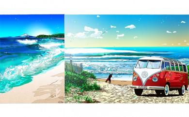 [№5875-0124]鈴木英人版画「ハーフマイルビーチ」&ミニプリント「終わりなき夏と」 2点セット フレーム付