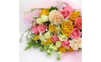[№5729-0047]春色パステルミックスブーケ10本のバラと季節の小花付き