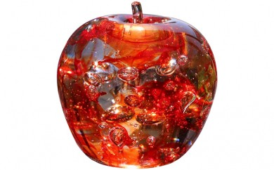 [№5907-0033]ガラスのりんご 「ふぞろいの林檎たち」 赤