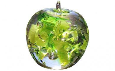 [№5907-0034]ガラスのりんご 「ふぞろいの林檎たち」 青