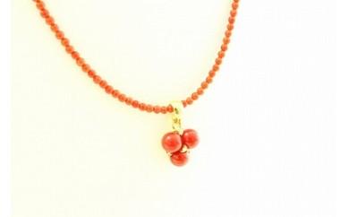 ●I-002  赤珊瑚トップ付ネックレス