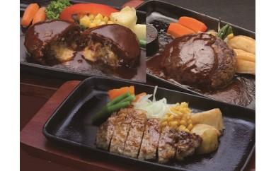 A-358 鹿児島県産黒豚煮込みハンバーグ・ステーキセット