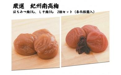 紀州南高梅はちみつ梅・しそ梅各1kg(化粧箱入)