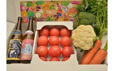 岩倉の味満喫セットC【夢吟香いわくら2本・水耕栽培トマト・季節の野菜】