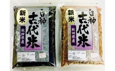 【A51】白神古代米(黒米1kg、赤米1kg)セット