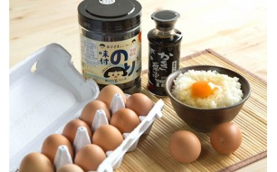【SET-07】笠岡産・朝ごはんセット「米・卵・海苔・醤油」(定期便A)