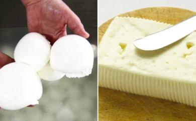 [№5749-0156]湖水地方牧場の『水牛モッツアレラチーズとクレッシェンツァチーズセット』