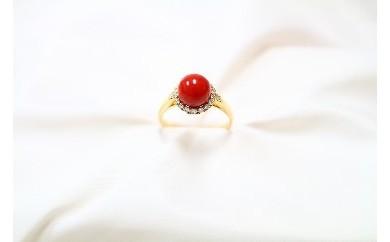 ●J-018 赤珊瑚丸玉リング
