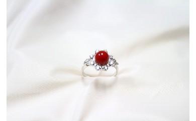 ●J-016 赤珊瑚丸玉リング