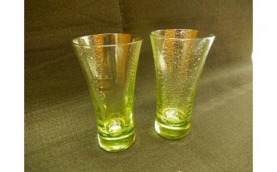 31 緑の玄武岩 銀箔入りグラス2個セット