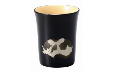 輪島塗 カップ(猫蒔絵、黒)