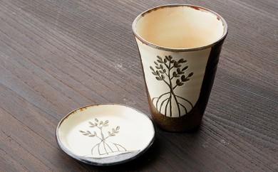 [№5747-0075]ヤエヤマヒルギ線彫りビアカップと小皿(鈴石釉)