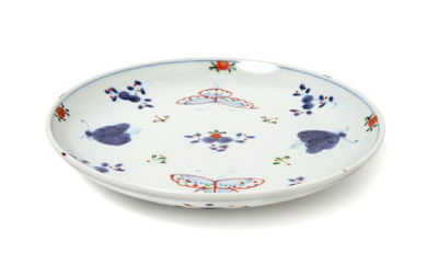 【有田焼】福珠窯の人気定番シリーズ「天啓花蝶紋」7寸丸皿 4個