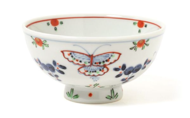 福珠窯の人気定番シリーズ「天啓花蝶紋」ご飯茶碗 2個