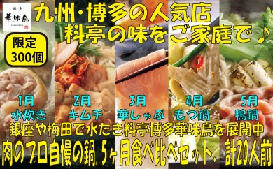 E040.【定期便5ヶ月】福岡・博多.肉のプロの自慢の鍋.食べ比べセット.計20人前/限定300個