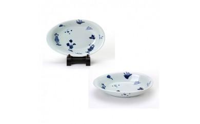 有田焼 青花 たまご型カレー皿 異人づくし 2枚セット