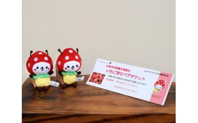 No.043 いちごの街 山武市いちご狩りチケット(2名様分)&SUNムシくんストラップ