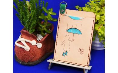 No.022 牛革パスケース「楽しい雨」