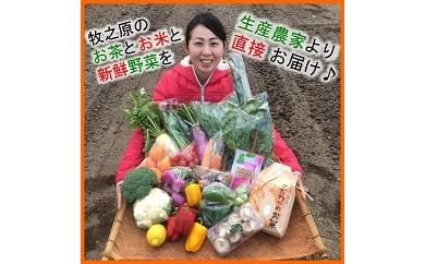 1-175 生産者の顔が見える!12品目以上 お茶・野菜・お米セット
