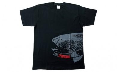 [№5795-0088]シュマリナイ湖 オリジナルTシャツ[イトウ柄] ブラック