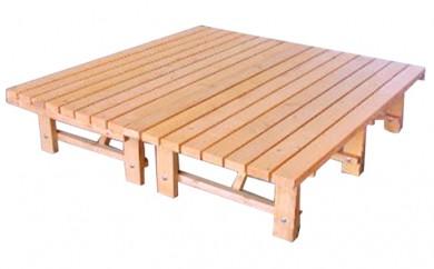 [№5766-0027]丸善木材のホクモクエクステリア『ウッドデッキ』2台(サイズ調整)