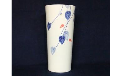 A250-10 伝統工芸士 橋口博之作(しん窯)染錦アブチロン 花器