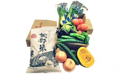 [№5836-0086]矢部米と山都産高冷地新鮮野菜詰め合せ(プラス特産品1品)