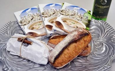 A-11能登牡蠣チャウダーと能登ワインぶどうの天然酵母カンパーニュ(田舎パン)セット