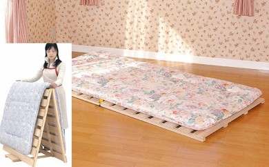 [№5840-1284]【国産桧】布団干し機能付すのこベッド