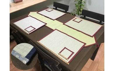 【ゴシゴシ洗える!?】畳ランチョンマット、テーブルランナーセット カラー:金紋+赤