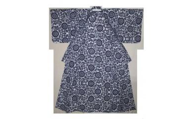 E103 オリジナル河内木綿柄婦人用ゆかた(紺)