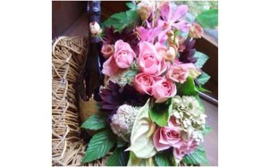 288 ドンペリとピンクカラーのお花のプレミアムセット