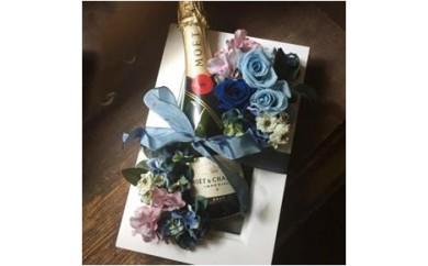 293 シャンパン(モエ)とプリザーブドフラワーの額縁アレンジ (ブルー)
