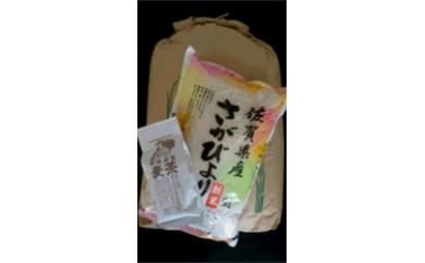 17309.佐賀県産さがびより(玄米・白米)と酵素栽培麦茶セット