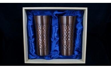 1702017 銅製タンブラー 槌目アンティーク仕上げ2点セット(木箱付)