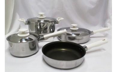 1704012 二層鋼内面フッ素樹脂加工鍋&フライパン4点セット