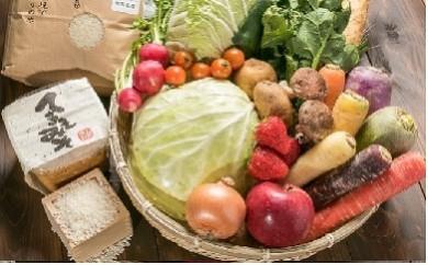 いっぺ北上の野菜食ってけでぇ~有機米+野菜セット(1回)