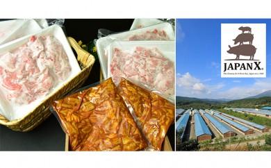 [№5800-0088]宮城蔵王産 牧場直送 JAPAN X 豚小間&ホルモン/計2.4kg