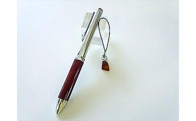 H-007 回転式琥珀ボールペンと久慈産琥珀ストラップセット
