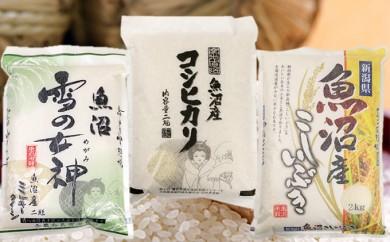 [№5762-0131]魚沼産米 3品種食べ比べセット(2kg×3種類)
